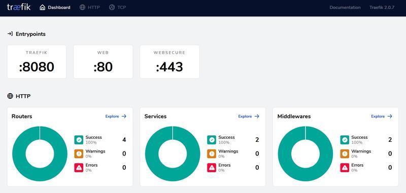 Screenshot of the Traefik dashboard